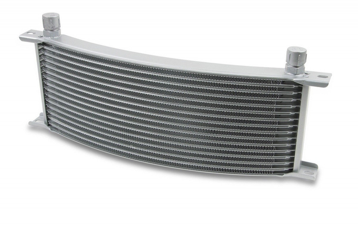 Motor Oil Coolers : Earl s performance m row wide curved cooler grey